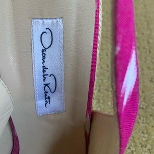 Oscar de la Renta Shoes - Oscar de la Renta hot pink and white wedges